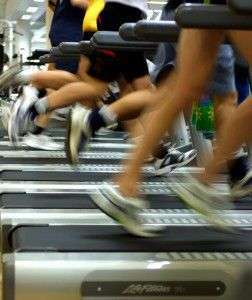 Feet on treadmills