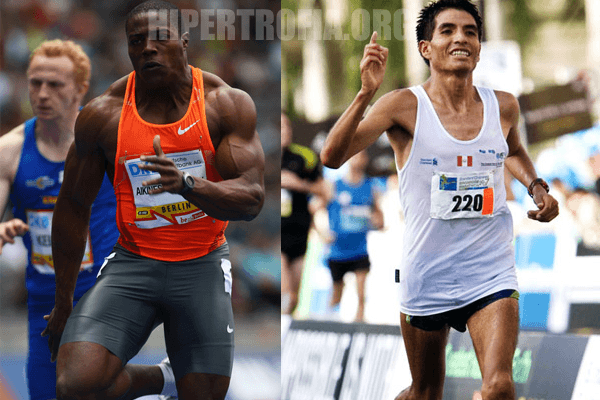"""Ao lado esquerdo temos um corredor olímpico e ao direito um maratonista, mostrando toda sua """"saúde""""."""
