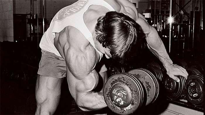Arnold fazendo rosca concentrada em pé