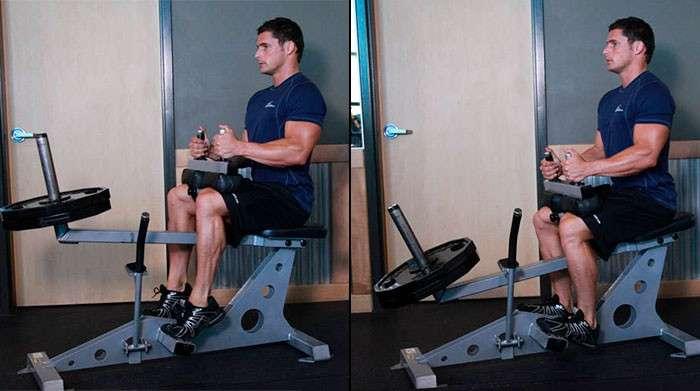 Execução correta do exercício gêmeos sentado para panturrilhas
