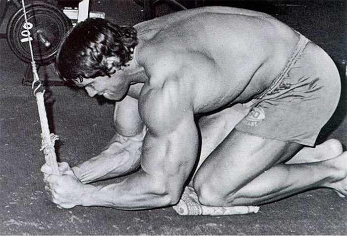 arnold fazendo um treino abdominal na polia