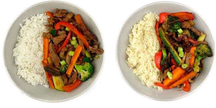 dois pratos iguais mas com macronutrientes diferentes