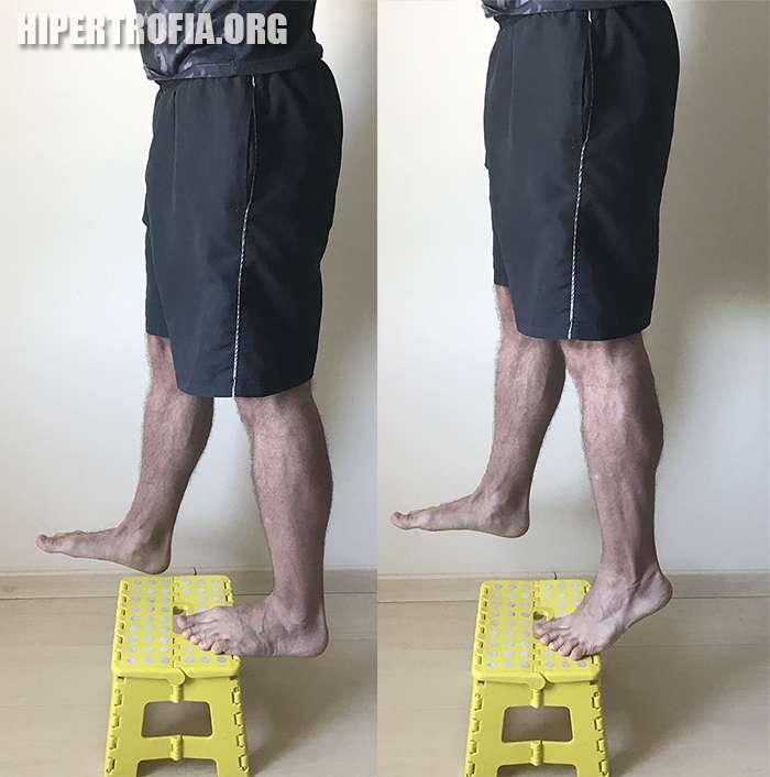 elevação de panturrilhas unilateral usando um step