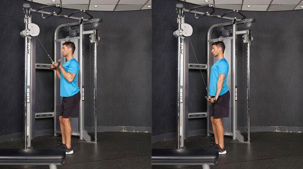 execução do tríceps corda